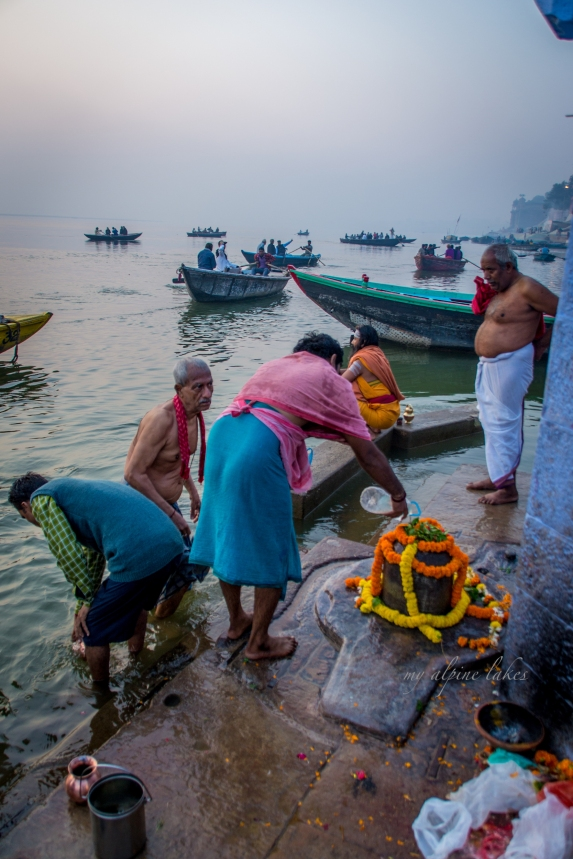 Paying respect to Shiva Lingam