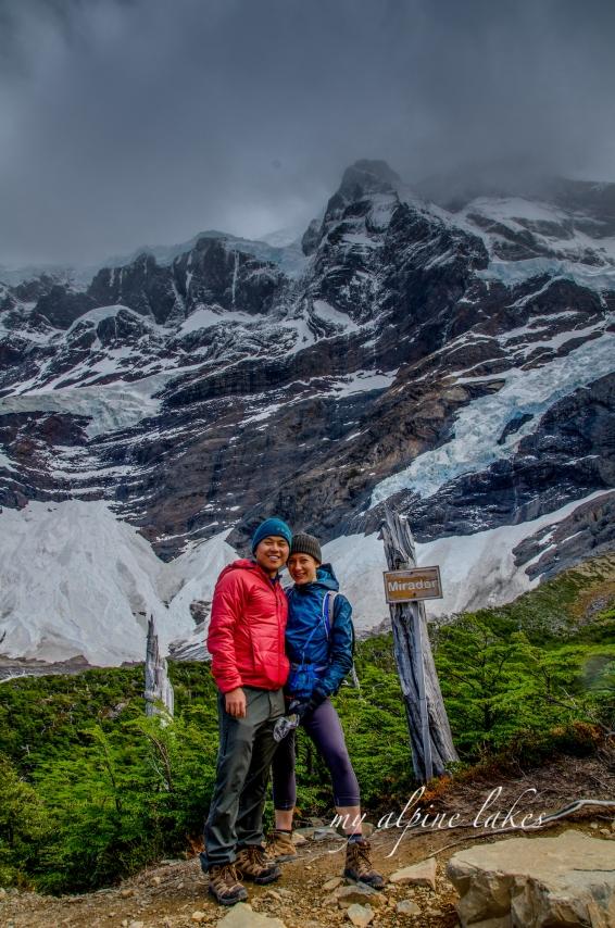 Glamor shot in front of glacier Frances.