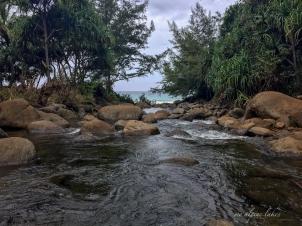 Hanakapi'ai stream which feeds on to the beach.